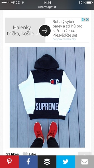 shirt supreme black white red hoodie pullover sweater supreme sweater