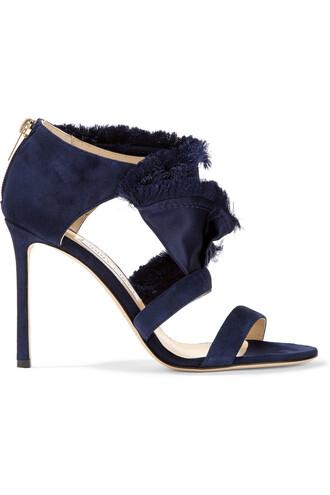 sandals suede satin blue shoes