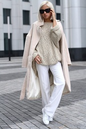 image monkey,blogger,long coat,white pants,knitted sweater,beige sweater,pants,wide-leg pants,sunglasses,black sunglasses,winter work outfit,coat,beige coat,chunky knit