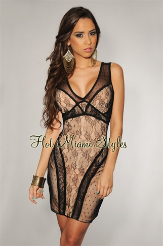 Black Romantic Lace Nude Illusion Dress