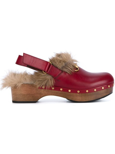 clogs wood women leather red shoes