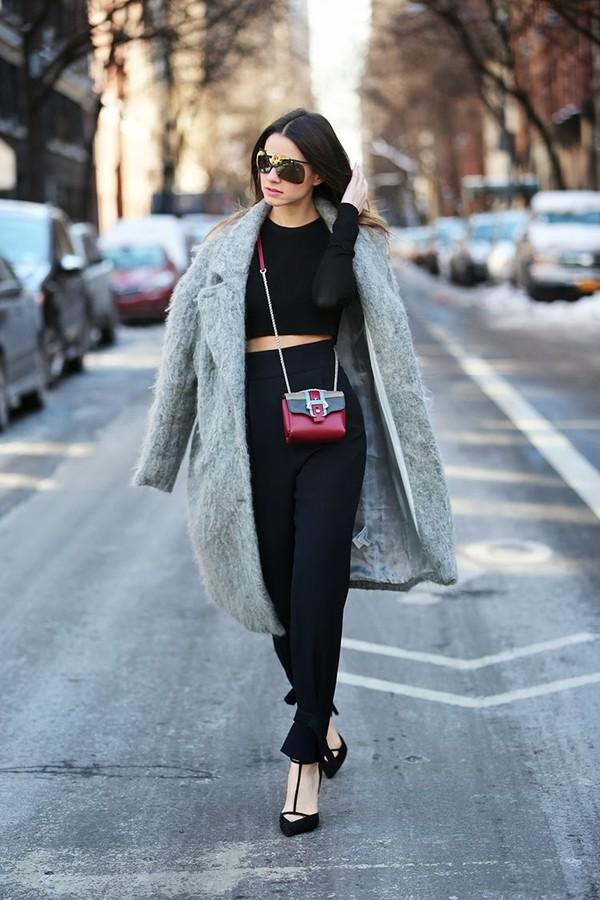 fashion vibe sunglasses pants bag t-shirt coat
