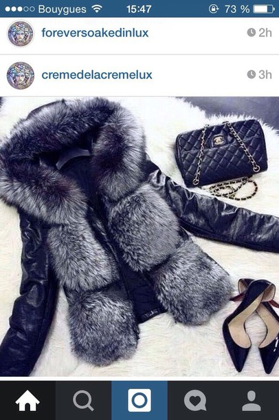 jacket black jacket chanel jacket fur