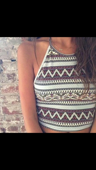 shirt boho bohemian tribal pattern tribal shirt halter neck summer top summer shirt tank top aztec top colorful aztec cute summer style top