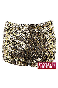 New ladies metallic sequin shiny gold mini sexy shorts womens hotpants size 8 14