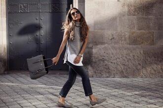 frassy blogger sweater jeans shoes bag grey bag handbag grey top loafers