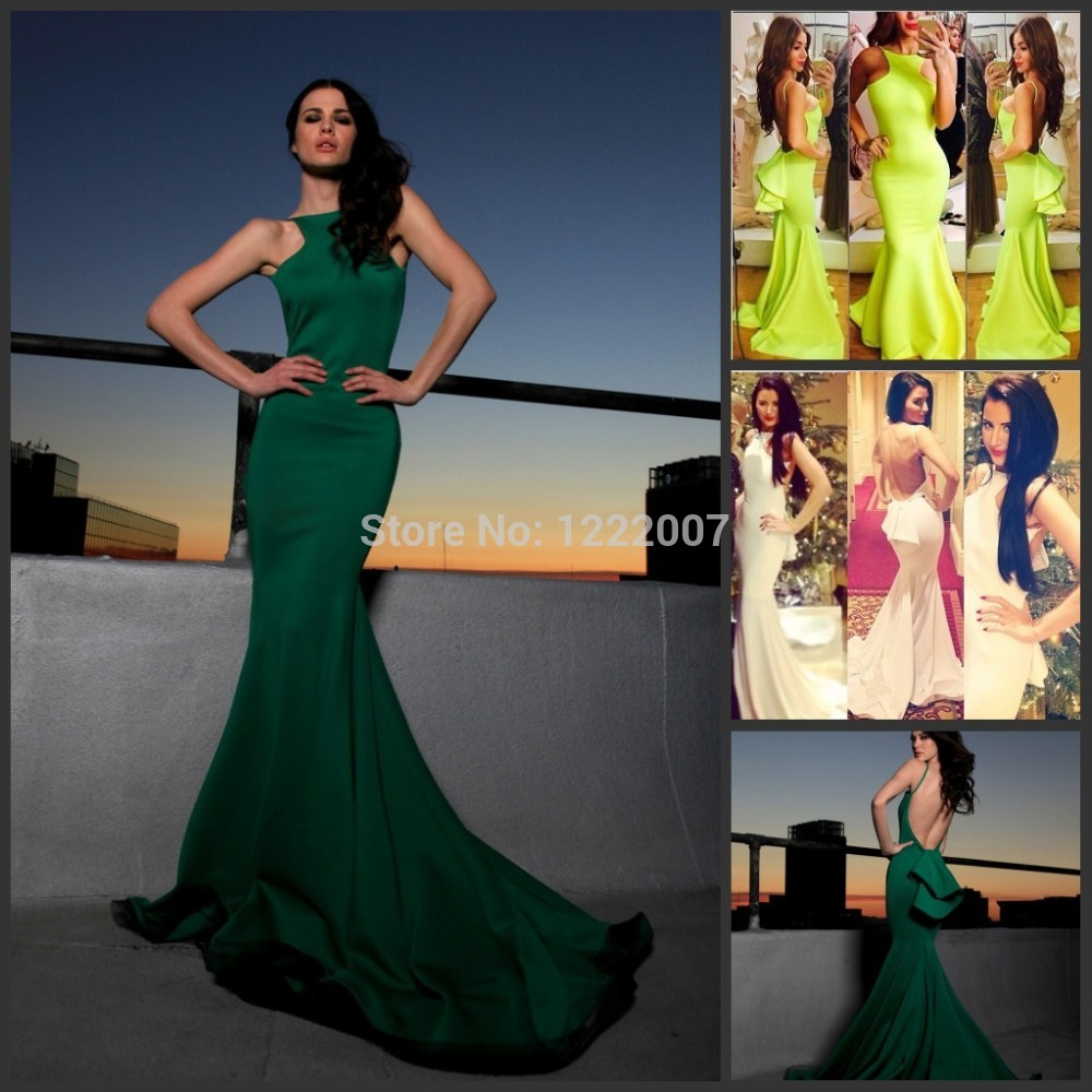 Aliexpress.com : buy amazing crew neck hot sale green mermaid evening dress 2014 michael costello sexy backless formal party gowns stretch material from reliable dress shirt sleeve fit suppliers on dreamyfashion