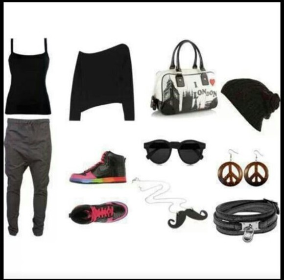 black jogging pants joggingpants bag sweatshirt shoes earings hat beanie earrings top grey