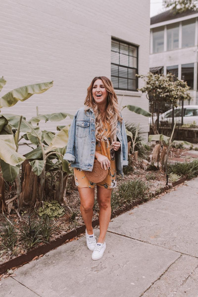 januaryhart blogger romper jacket bag shoes jewels denim jacket sneakers round bag spring outfits