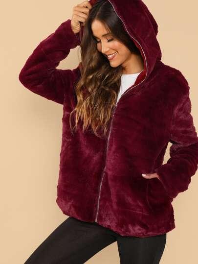 Pocket Front Fleece Hoodie Jacket