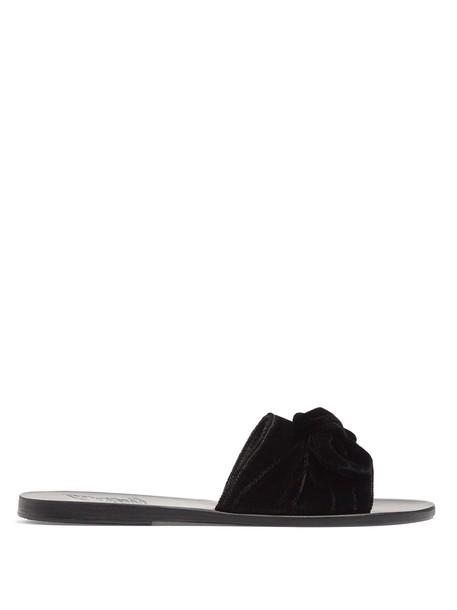 bow embellished leather velvet black shoes