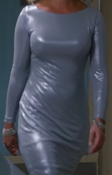 dress silver shiny long sleeve dress