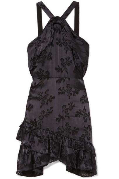 Saloni dress mini dress mini jacquard purple satin