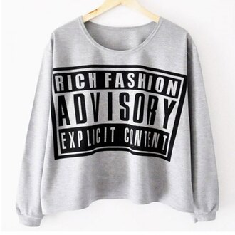 sweater parental advisory explicit content chic cropped sweater casual fashion cool style urban streetwear dope