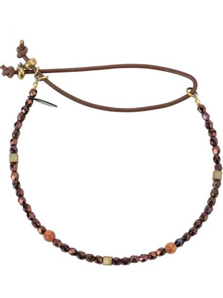 Catherine Michiels beaded bracelet bohemian women beaded purple pink jewels