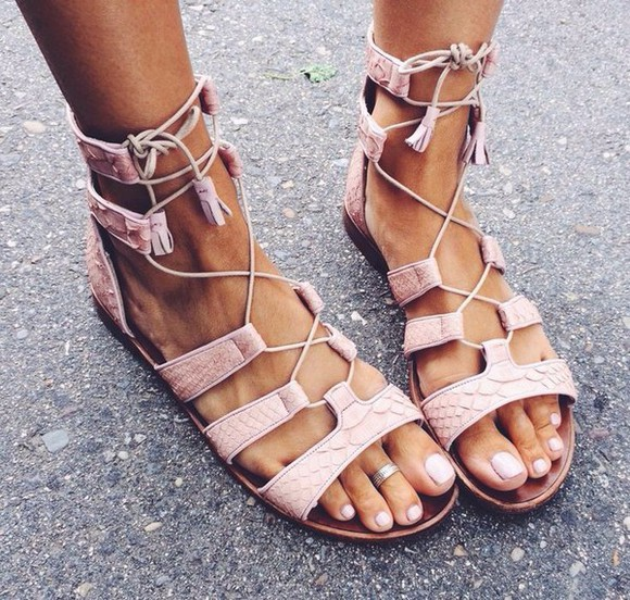 pale pink gladiators tie sandals sandals