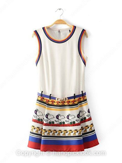 White Round Neck Sleeveless Dogs Print Dress - HandpickLook.com