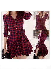 dress,red dress,checkered dress,flannel dress,plaid dress,shirt dress,winnipeg,checked shirt dress,red black cosy shirt dress,red,kariert,cute