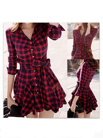 dress red dress checkered dress flannel dress plaid dress shirt dress winnipeg tartan dress checkered plaid fashion style buttons red black girly kawaii korean fashion asian fashion back to school checked shirt dress red black cosy shirt dress kariert cute