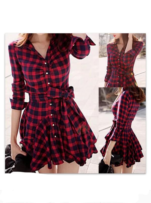 dress red dress checkered dress flannel dress plaid dress shirt dress winnipeg checked shirt dress red black cosy shirt dress red kariert cute