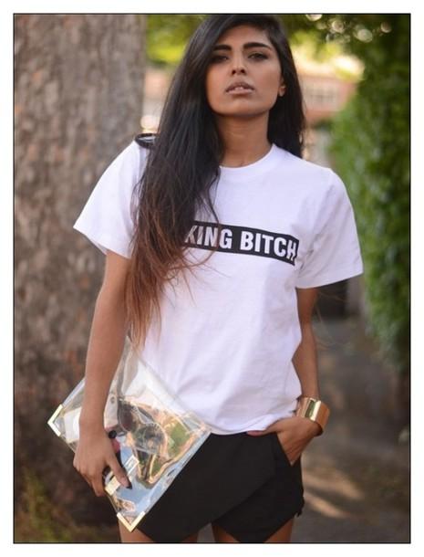 t-shirt fucking bitch t-shrit bitch bitch tops bitch fuckit t-shirt with print