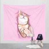 home accessory,summer,tapestry,pink,light pink,cats,cat ears,pastel,pastel pink,pastel goth,urban pastel pink