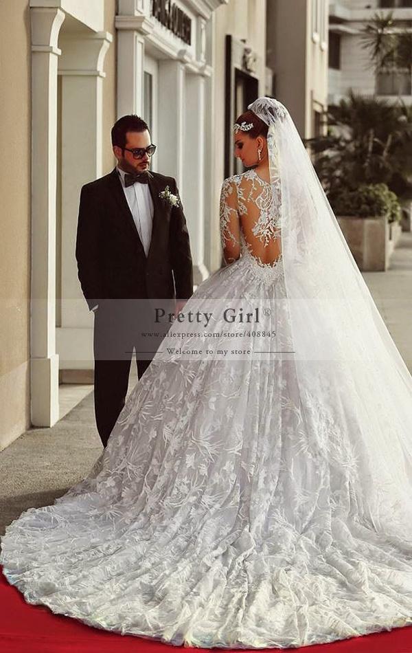 Buy vestidos de noiva romantic ball gown for Wedding dress appliques suppliers