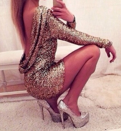 Halter Back Sequin Dress