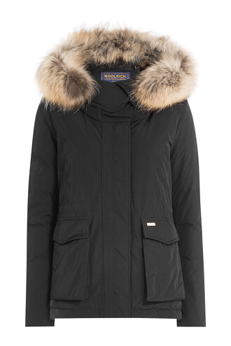 parka short fur black coat