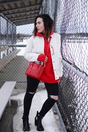 sweater,red hoodie,white jacket,black ripped jeans,black cutout boots,red handbag,blogger