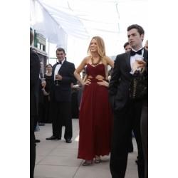 (Serena Vanderwoodsen) Blake Lively Burgundy Chiffon Cut Out Formal Prom Dress Gossip Girl