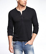 LONG SLEEVE TRI-BLEND HENLEY TEE | Express