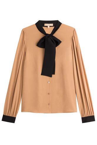 blouse bow silk camel top