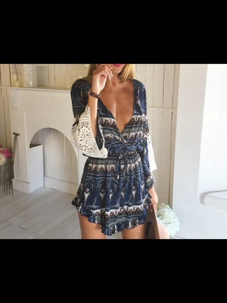 romper navy white lace cream long sleeves pretty v neck low neck