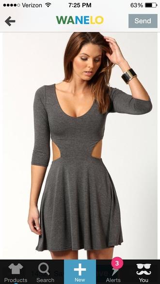 open sides grey skater dress