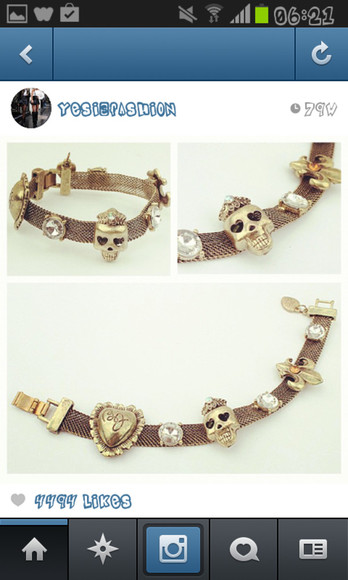 jewels gold bracelet bronze skulls alternative