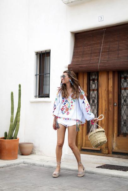 top embroidered tumblr shorts denim denim shorts white shorts sandals espadrilles bag basket bag summer outfits shoes sunglasses