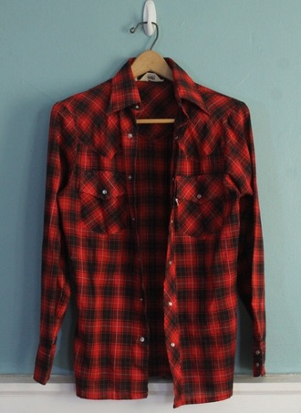 shirt red plaid long sleeves punk striped shirt