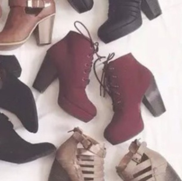 shoes, heels, wedges, booties, burgundy, red, dark red, red heels ...