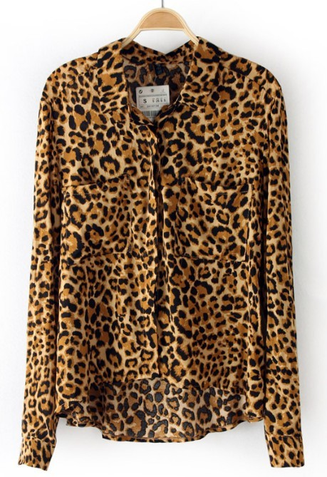 Leopard Lapel Long Sleeve Pockets Blouse - Sheinside.com