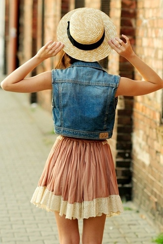 skirt peach denim pink jacket dress hat cute jeans cute dress pink dress lace straw waistcoat summer dress summer bohemian blue skirt denim jacket boho
