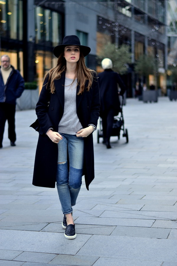 shot from the street jeans sweater coat hat shoes bag