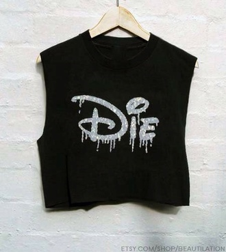 shirt die disney black top t-shirt rock crop tops