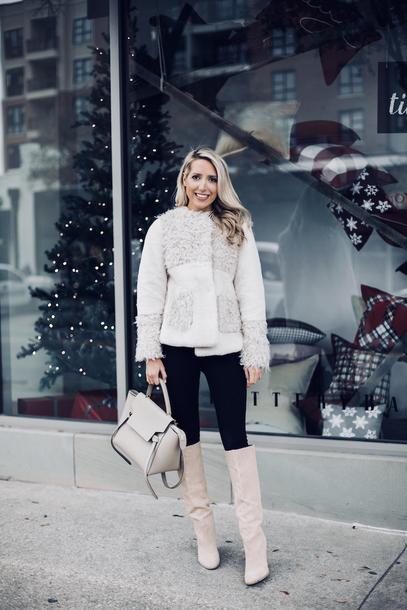krystal schlegel blogger coat sweater shoes jeans belt bag winter outfits boots winter jacket