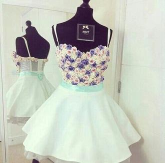 dress mint dress floral dress cute vintage mint roses prom