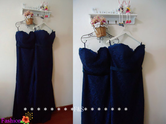 Mermaid Lace Bridesmaid Dress Sexy Navy Blue by FashionStreets