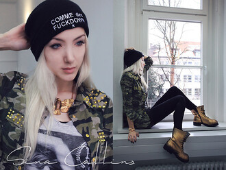 hat beanie lookbook comme des fuckdown army green jacket timberlands stylish grunge it girl shop streetwear urban blouse blogger
