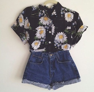 blouse floral shirt denim shirt blue shorts black top flowers shorts