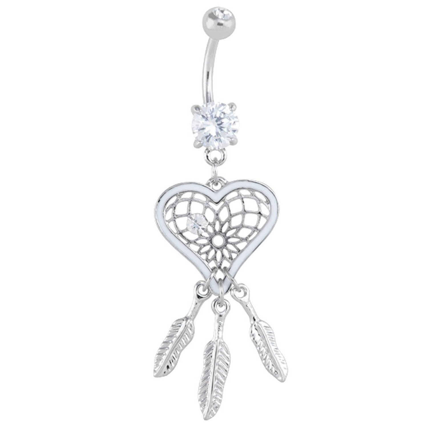 Shaped cz dream catcher dangle belly button ring: body piercing rings: jewelry