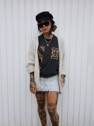 skirt denim skirt mini skirt t-shirt graphic tee slouchy cardigan cardigan hat blogger blogger style